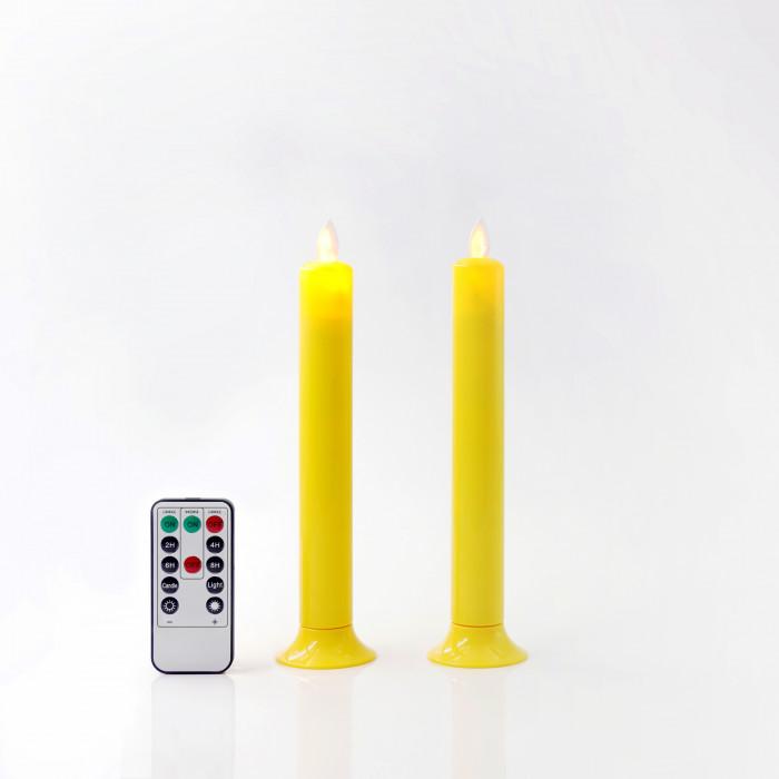 เชิงเทียน LED 20 CM เหลืองฐานเหลือง วิ้ง รีโมท CLA PLS