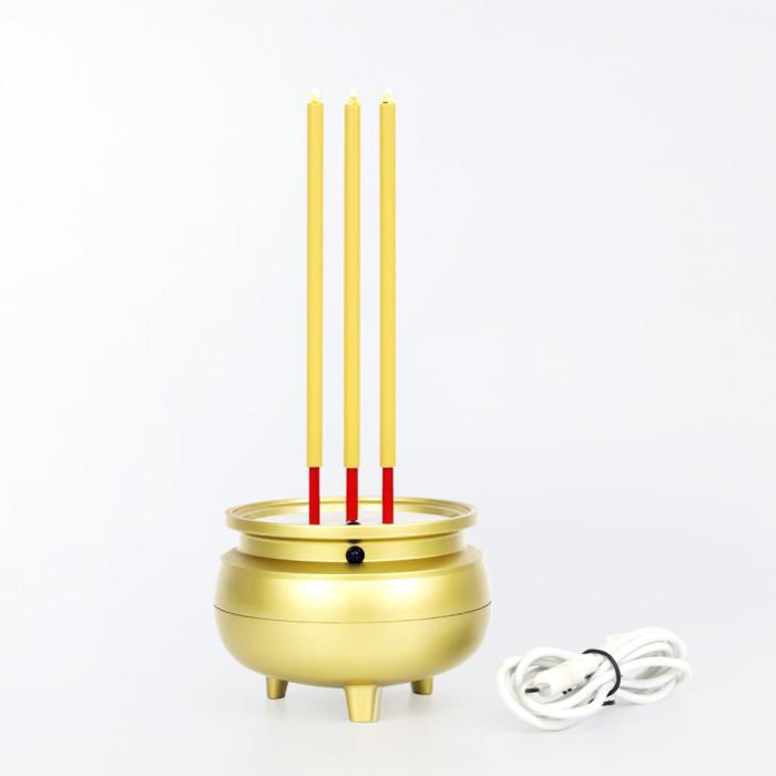 กระถางธูปไฟฟ้า ธูปไฟฟ้า LED 3 ดอก แบบรีชาร์จ มีแบตเตอรี่ในตัว พร้อมสายชาร์จ USB ความสูง 22 ซม.กระถางธูป สำหรับ บูชา หิ้งพระ ไร้ควัน ไม่ร้อน