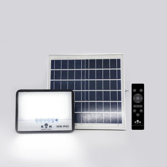 Solar Sensor Flood Light RIN ไฟ โซล่าร์ Rated power 50W 82LED พร้อมรีโมท สว่างอัตโนมัติ ตั้งเวลา ปรับความสว่าง ได้