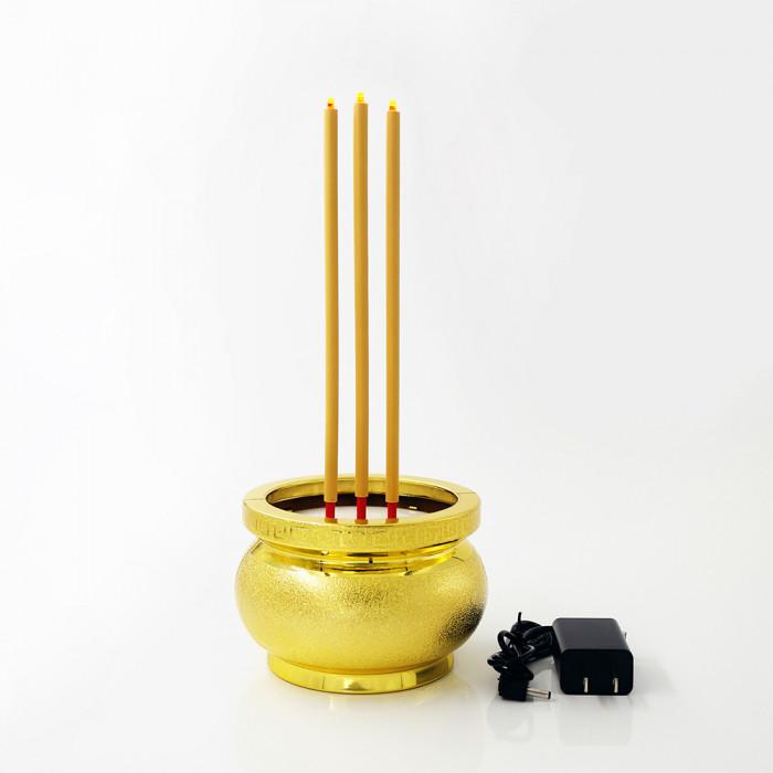 ธูปไฟฟ้า 30cm ทอง 3 ดอก DUAL POWER รีโมท  CLA PLS