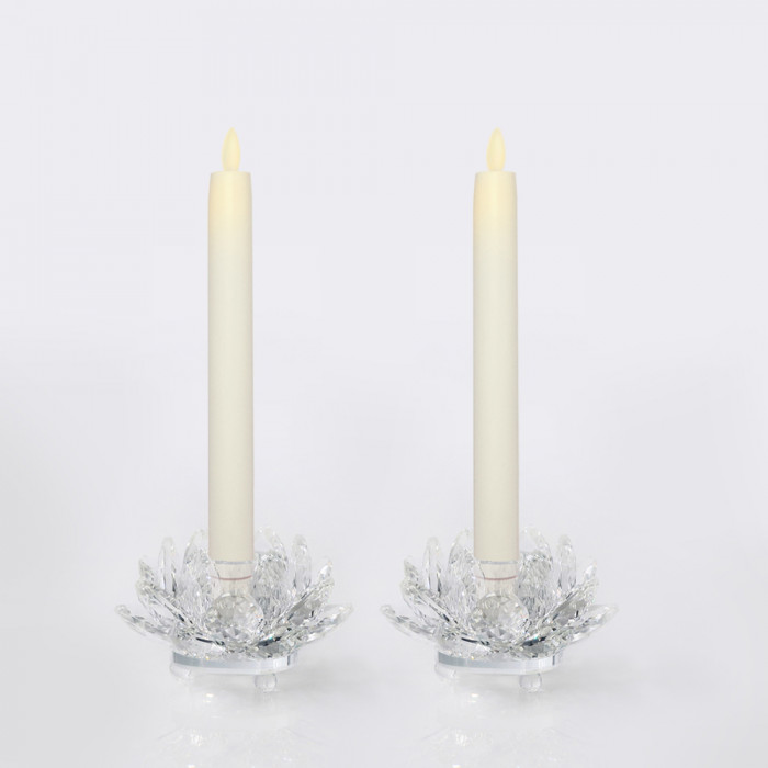 เชิงเทียน 25 cm ขาว วิ้งกด เป่าดับ + เชิงบัวแก้ว 3in 2ชิ้น
