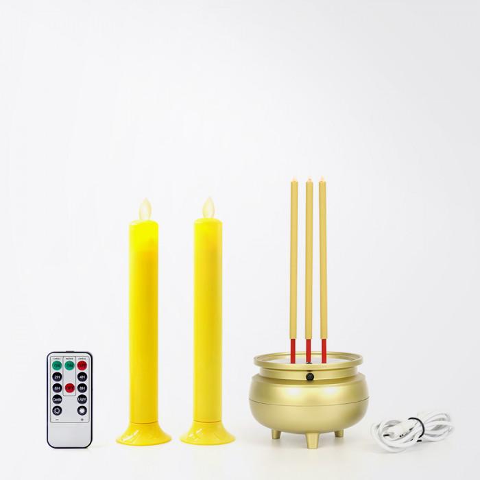 ใหม่!! กระถางธูปไฟฟ้า ธูปไฟฟ้า LED 3 ดอก แบบรีชาร์จ ความสูง 22 ซม. พร้อมเชิงเทียน LED เนื้อพลาสติก สีเหลือง ขนาด 20 ซม. สำหรับบูชาหิ้งพระ ไร้ควัน ไม่ร้อน