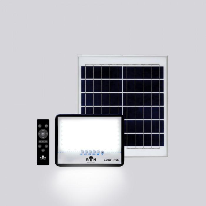 Solar Sensor Flood Light RIN ไฟ โซล่าร์ Rated power 100W 110LED พร้อมรีโมท สว่างอัตโนมัติ ตั้งเวลา ปรับความสว่าง ได้