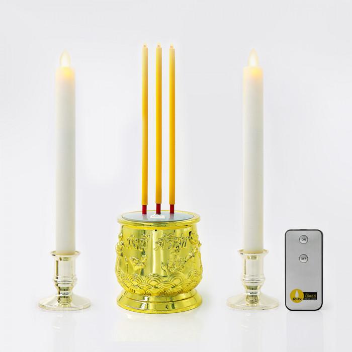 ธูปไฟฟ้า 28 cm 3 ดอก รีโมท + เชิงเทียน 25 cm ขาวฐานทอง wax